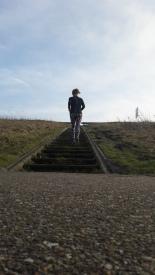 duurloop Almere, tussendoor een trapje meepakken